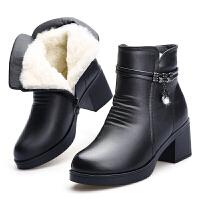 ����棉鞋冬季新款真皮短靴粗跟厚底加厚羊毛靴保暖加�q女士短靴子真皮 黑色5805 送棉�m鞋�|