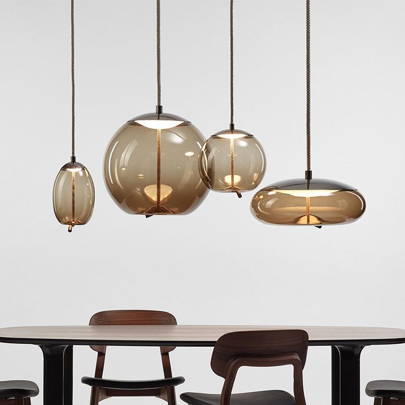 北欧餐厅吊灯三头卧室床头灯具吧台楼梯长线创意个性简约现代玻璃