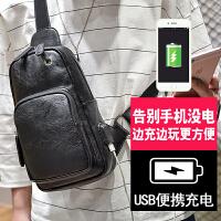 2018新款胸包男士韩版潮个性运动休闲小背包单肩斜挎包胸前包腰包 黑色 耳机孔+USB充电口