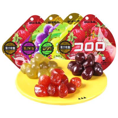 UHA悠哈味觉糖果汁软糖52g*4袋葡萄味QQ糖水果糖橡皮糖零食品小吃口味随机
