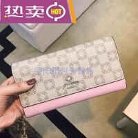 女士超薄长款钱包香港新款简约三折长款钱包钱夹女包