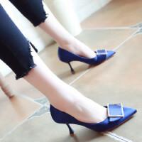 欧美时尚女鞋2018春季新款细跟高跟鞋尖头水钻方扣浅口鞋绸缎单鞋