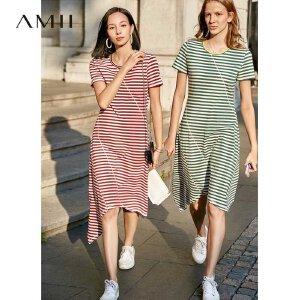 【到手价:103.9元】Amii极简港风撞色条纹不规则连衣裙2019夏新短袖显瘦拉架棉连衣裙