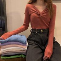 针织衫女秋冬2020新款韩版chic修身显瘦打结打底衫V领长袖上衣潮