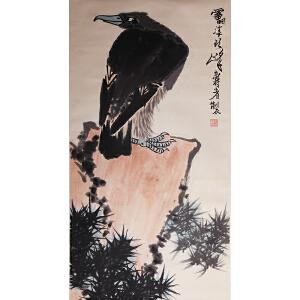 D-1-90  潘天寿  款   鹰石图