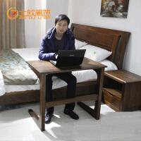 北欧篱笆高档实木书桌电脑桌黑胡桃木飘窗简易小书桌 书房家具