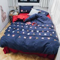 秋冬全棉卡通四件套加厚被套 圣诞节棉保暖立体毛巾绣床上用品