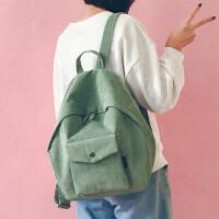 小清新帆布书包女双肩包少女心原宿ulzzang高中学生chic韩版简约背包