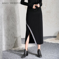 [AMII东方极简] JII AMII2018春秋季新款女装修身长裙包臀裙开衩OL不规则半身裙