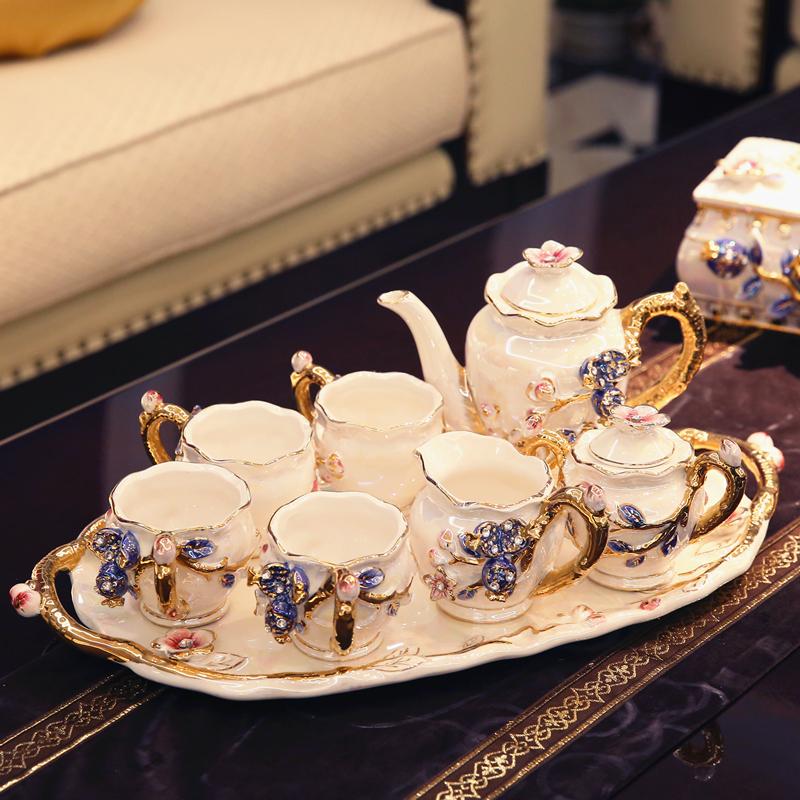 欧式茶具套装客厅装饰摆件陶瓷家居工艺品创意礼品送闺蜜结婚礼物 发货周期:一般在付款后2-90天左右发货,具体发货时间请以与客服协商的时间为准