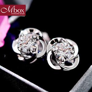 新年礼物Mbox耳钉 女日韩国S925银镶嵌施华洛世奇锆石耳坠 防过敏耳环耳饰