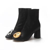 鞋子女2018新款欧女靴美水钻金属圆扣拉链裸靴黑色粗跟高跟短靴女软底 黑色