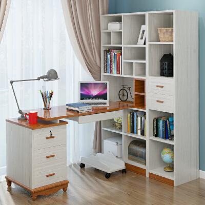 台式电脑桌带书柜书架地中海风格家用转角书桌组合一体学生学习桌 一般在付款后3-90天左右发货,具体发货时间请以与客服协商的时间为准