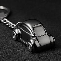 汽车钥匙扣男士高档情侣钥匙链挂件圈定制刻字USB打火机创意礼品 黑色 甲壳虫