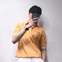 2018短袖T恤男潮流夏季男装修身衬衫领男士假2件衫半袖上衣服