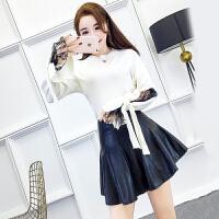 春季韩版蕾丝喇叭袖拼接套头针织毛衣+高腰PU皮半身裙时尚套装女
