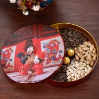 中式创意结婚家用干果盘客厅水果盘塑料瓜子盘分格带盖糖果盒