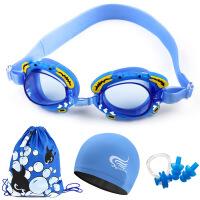 游泳眼镜儿童卡通防水防雾高清游泳镜泳帽套装 儿童泳镜批发
