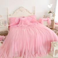 韩式天鹅绒田园公主风花边床裙四件套珊瑚绒套蕾丝床上用品床单四件套ins北欧 少女美式床上四件套被子四