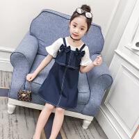 女童牛仔裙子两件套新款夏季时尚背带裙套装女孩纯棉短袖套裙