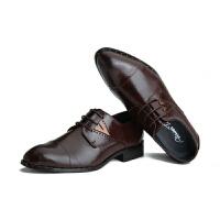 三接头皮鞋真皮正装商务休闲酒红色皮鞋男尖头韩版英伦青年内增高