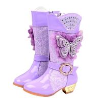 2018冬季新款儿童靴子闪亮公主高筒长靴韩版女童高跟单靴加绒棉鞋