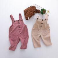 婴幼儿灯芯绒背带裤男女宝宝条绒裤子儿童春秋连体裤可开裆1-3岁