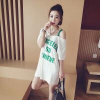 夏季新款家居服睡衣宽松大码条纹中长款印花短袖T恤女连衣裙T恤裙