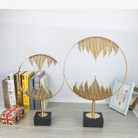 现代样板间饰品火焰金圈摆件软装饰品金属工艺品客厅创意摆件