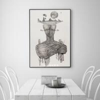 北欧简约黑白实木有框现代装饰画壁画欧式客厅餐厅电表箱挂画
