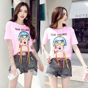 2018夏季套装女韩版潮T恤搭配破洞牛仔短裤学院风俏皮时尚两件套