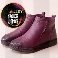 真皮棉鞋女冬鞋女靴加绒款舒适平底休闲短筒软底手工妈妈鞋短靴女SN2680