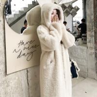 新款冬季仿羊羔毛皮草大衣��松�版�B帽�L外套保暖�r尚毛毛�L衣女