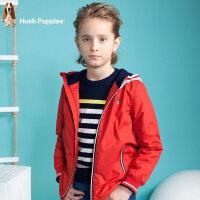 【3折价:119.7元】暇步士童装男童连帽厚风衣春装新品中大儿童纯色加绒加厚外套