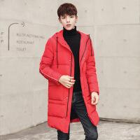 冬季羽绒服男中长款连帽2018新款韩版修身青年潮加厚长款男士外套
