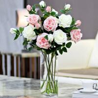假花仿真花摆件玫瑰花客厅摆设干花花束插花餐桌花瓶防真花装饰花l2q