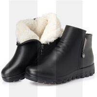 妈妈鞋女冬大码女靴41-43中老年平底防滑老人棉鞋加绒真皮短靴SN9470