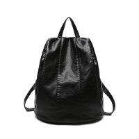 双肩包女士包包韩版个性防盗软皮旅行包潮女小背包 黑色 小号现货