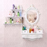 韩欧式壁挂梳妆台镜迷你卧室小户型现代简约白色田园化妆台梳妆桌