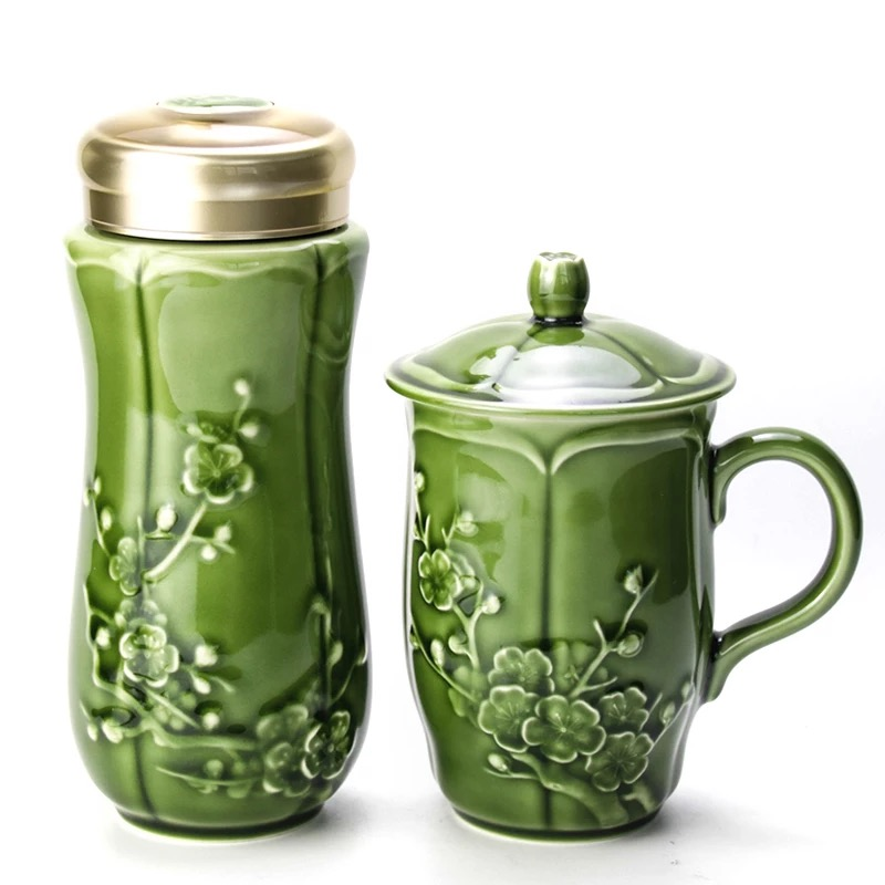 乾唐轩活瓷杯红梅报春2入礼盒套装创意陶瓷茶杯水杯子商务