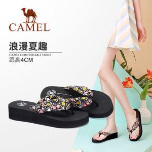 骆驼女鞋 夏季新款碎花松糕底人字拖坡跟清新外穿夏日拖鞋潮