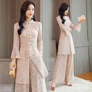 复古温柔风时髦套装阔腿裤2018春夏新款女装韩版小香风洋气两件套