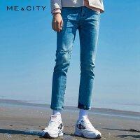 【2件1.5折价:82.4,可叠券】MECITY男装春季水时尚洗蓝破洞修身牛仔裤潮流韩版