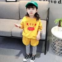女宝宝套装秋装1-3岁5韩版洋气儿童卡通卫衣两件套春秋女童衣服潮yly