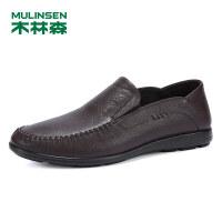木林森男鞋2019春季新款男士商务休闲鞋套脚牛皮鞋子SS97116