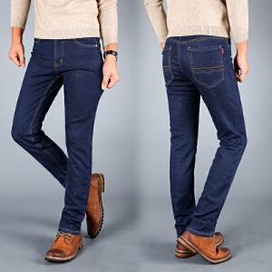 秋冬弹力加绒牛仔裤男士加厚直筒保暖大码带绒男裤子宽松弹性长裤