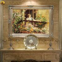 欧式油画手绘客厅壁画宫廷人物画走廊挂画创意餐厅玄关装饰画过道 115*85 连框尺寸10-15天发货