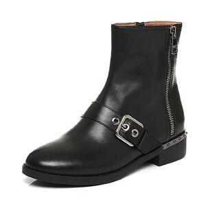 Belle/百丽2017冬时尚酷感油皮牛皮女短靴3C3W9DD7