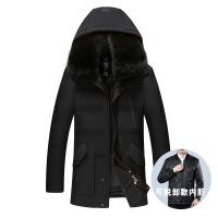 中老年男冬装外套大码加绒加厚中长款爸爸装老年人 可脱卸