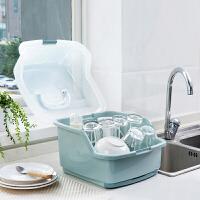 家用带盖水杯碗碟架放碗架收纳盒 厨房装碗筷收纳箱沥水架置物架